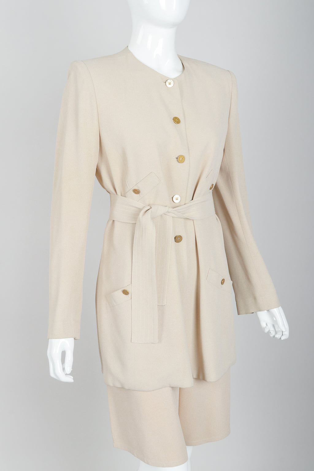 Vintage Sonia Rykiel Sand Crepe Belted Jacket & Short Set on Mannequin angled at Recess