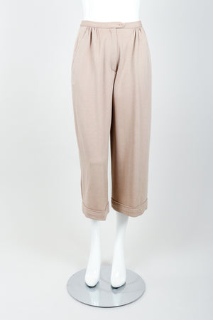 Vintage Sonia Rykiel Taupe Knit Cropped Trouser on Mannequin front at Recess