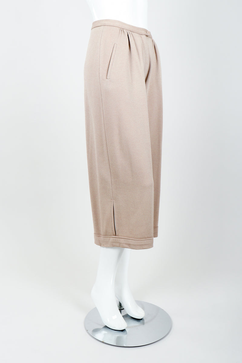 Vintage Sonia Rykiel Taupe Knit Cropped Trouser on Mannequin side at Recess