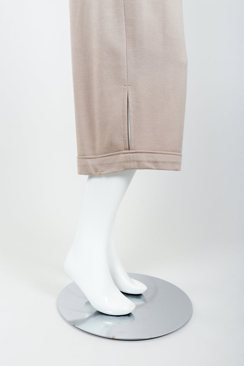 Vintage Sonia Rykiel Taupe Knit Cropped Trouser on Mannequin leg opening at Recess