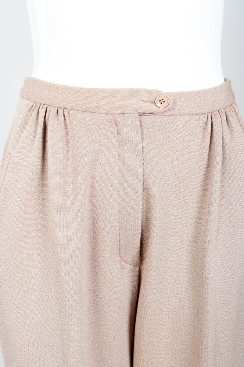 Vintage Sonia Rykiel Taupe Knit Cropped Trouser on Mannequin waistband at Recess