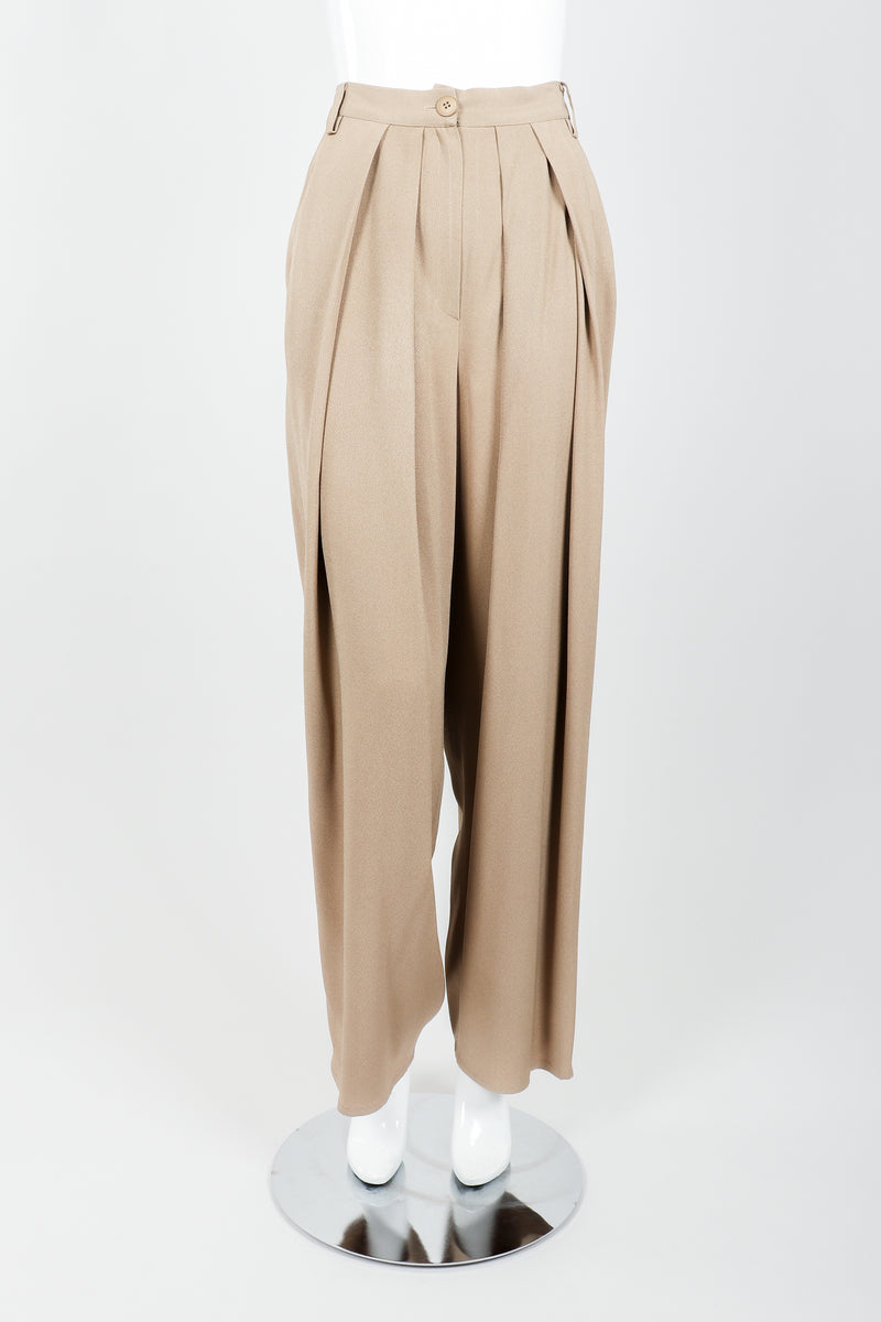 Vintage Sonia Rykiel Taupe Pleated Crepe Pant on Mannequin front at Recess