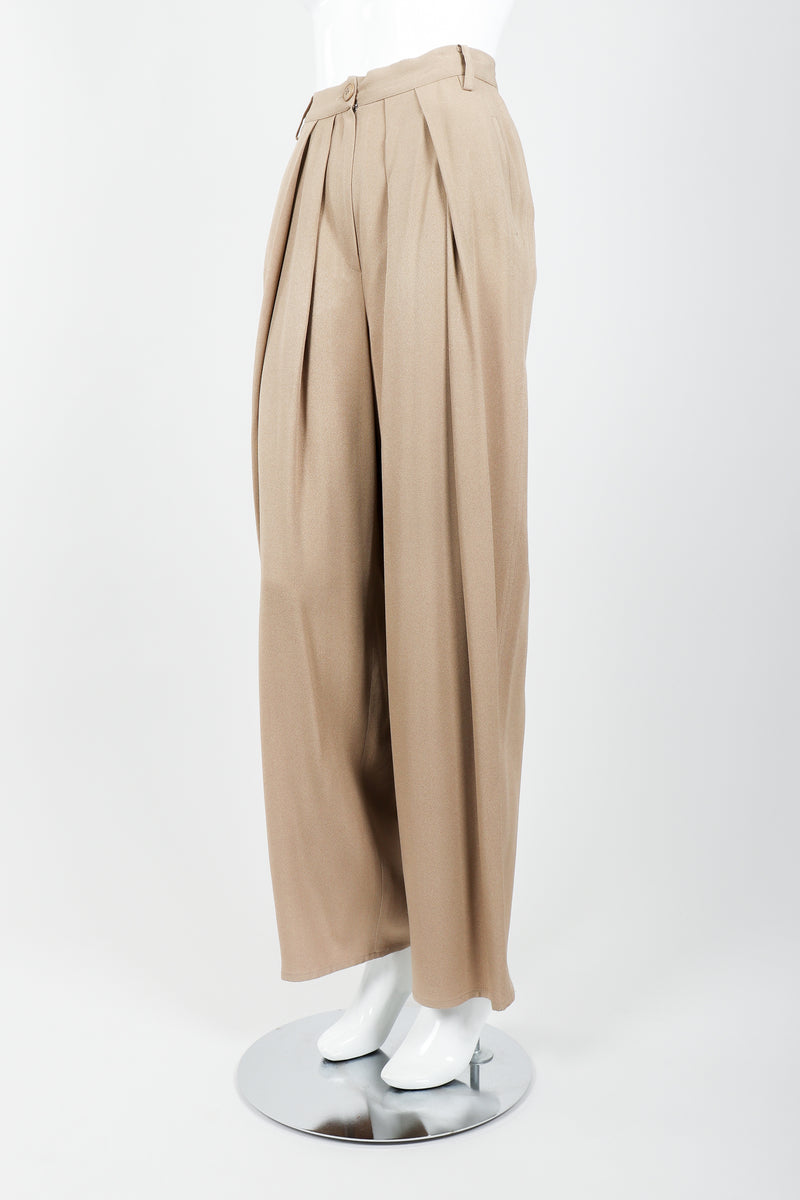 Vintage Sonia Rykiel Taupe Pleated Crepe Pant on Mannequin Pleat angled at Recess