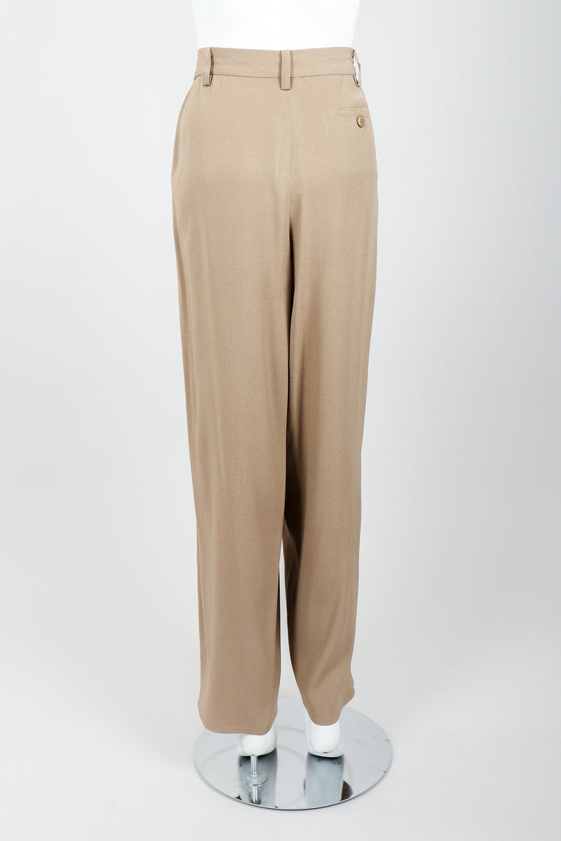 Vintage Sonia Rykiel Taupe Pleated Crepe Pant on Mannequin back at Recess