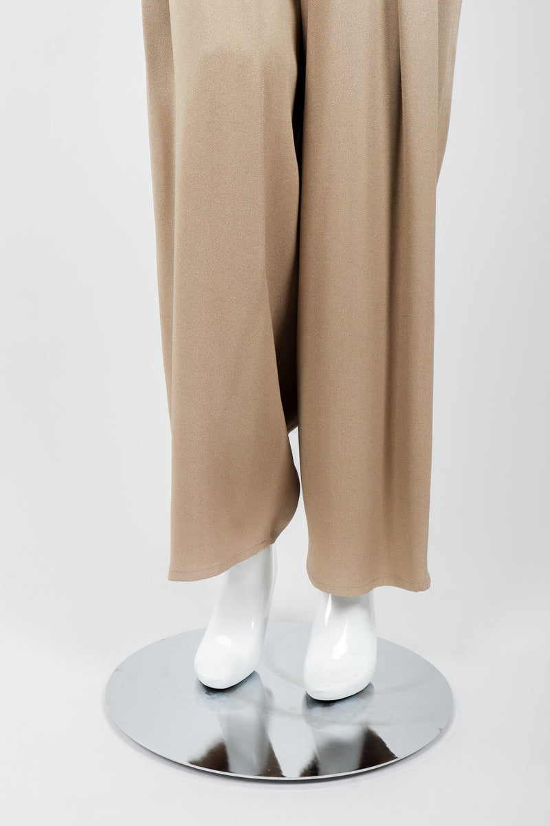 Vintage Sonia Rykiel Taupe Pleated Crepe Pant on Mannequin leg opening at Recess