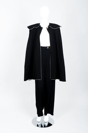 Vintage Sonia Rykiel Crepe Cape & Pant Set on mannequin front open at Recess Los Angeles