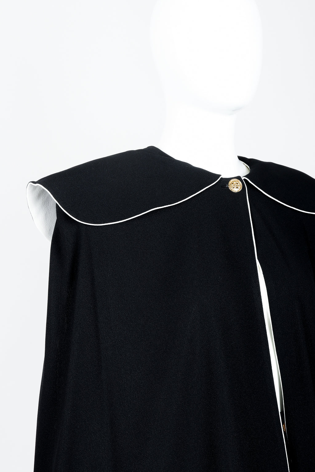 Vintage Sonia Rykiel Crepe Cape & Pant Set on mannequin neckline at Recess Los Angeles
