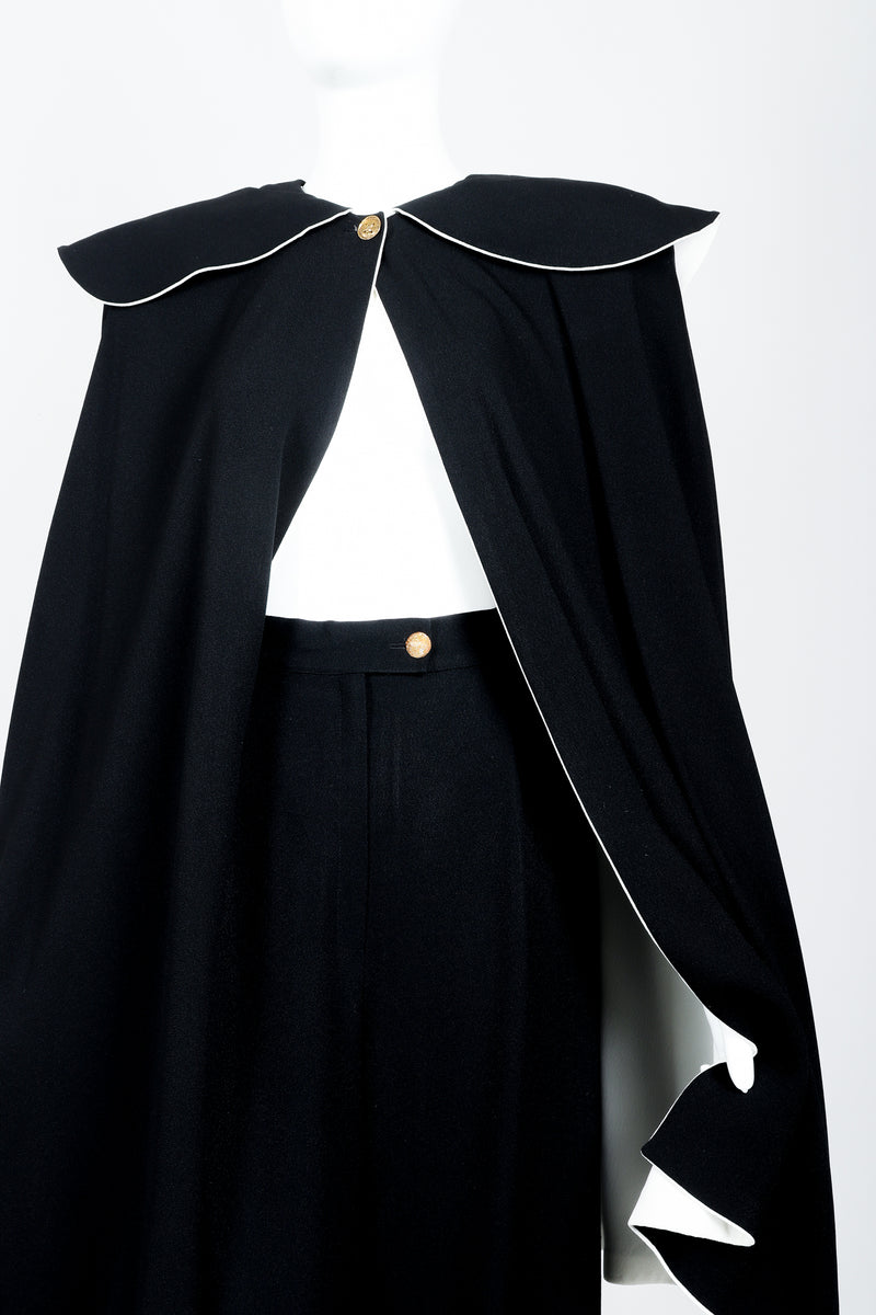 Vintage Sonia Rykiel Crepe Cape & Pant Set on mannequin front crop at Recess Los Angeles