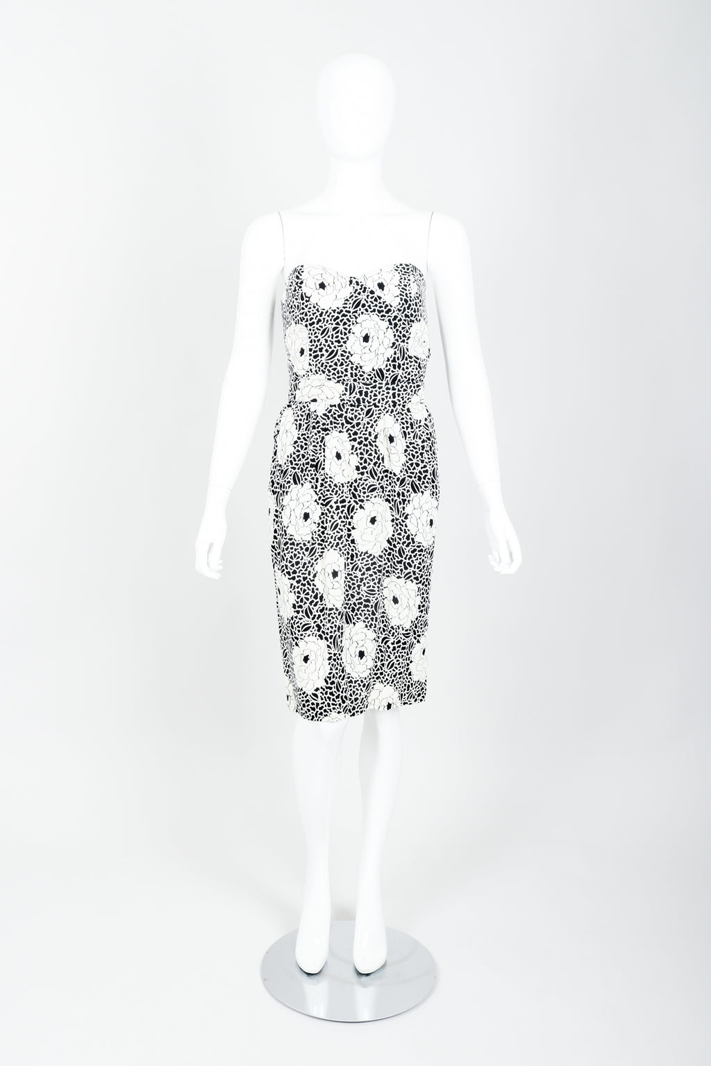 Vintage Sonia Rykiel black white Floral Print Dress on mannequin front at Recess