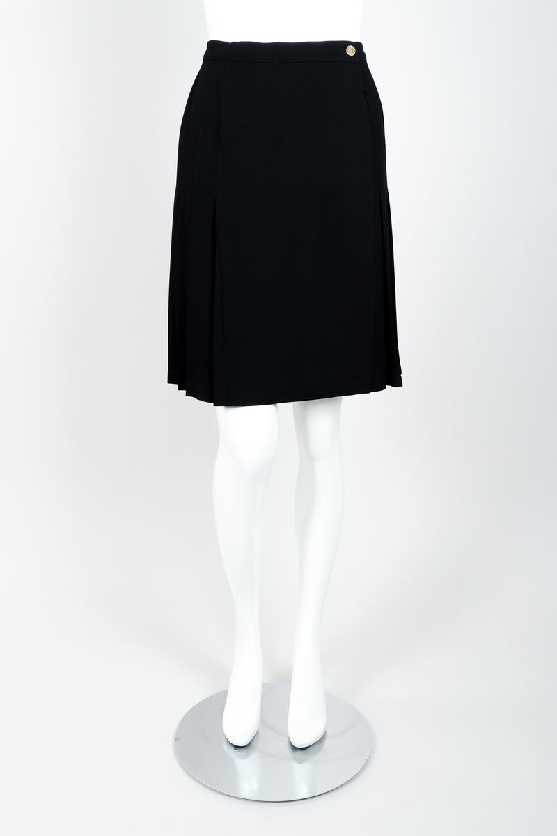 Vintage Sonia Rykiel Crepe Pleated Wrap Skirt on mannequin front at Recess