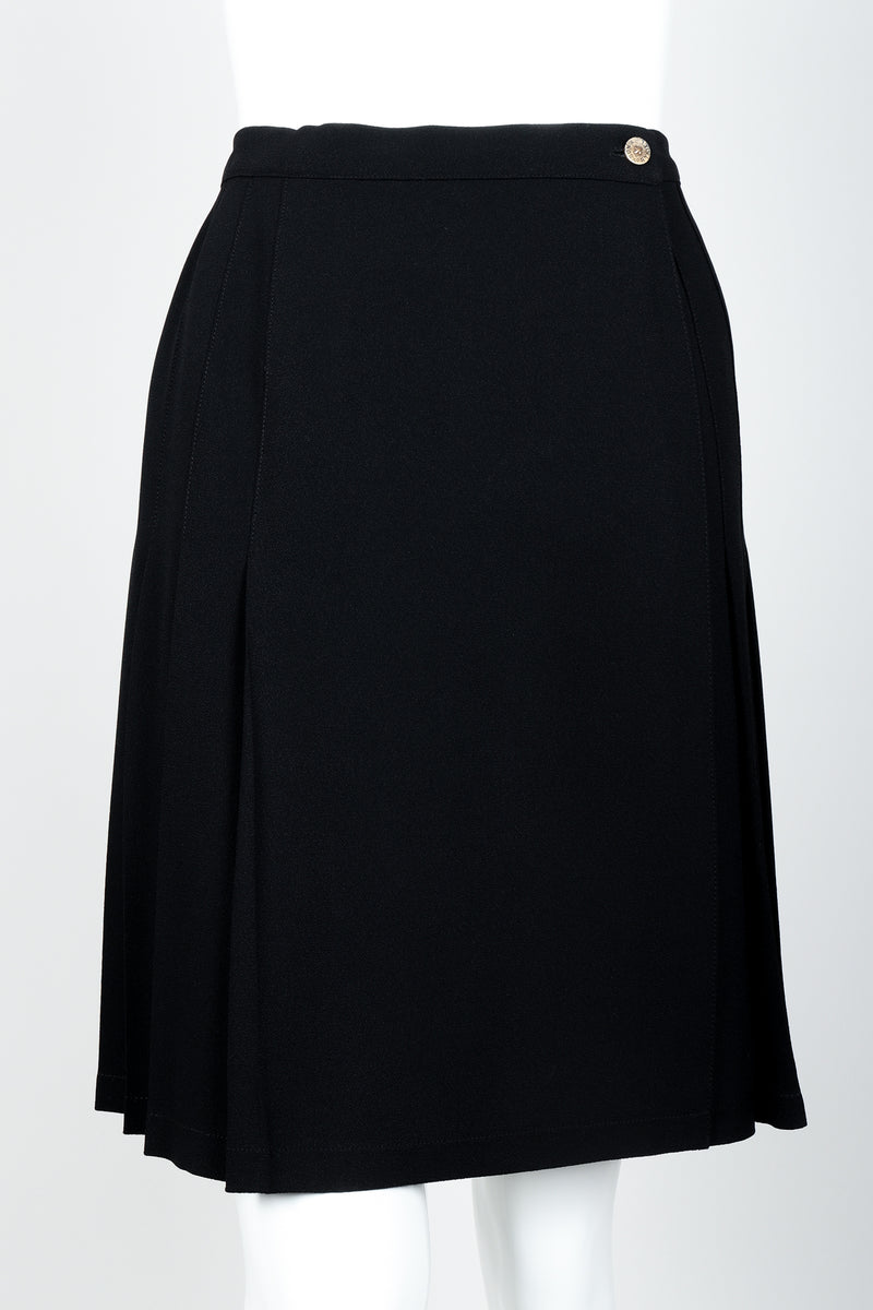 Vintage Sonia Rykiel Crepe Pleated Wrap Skirt on mannequin front crop at Recess