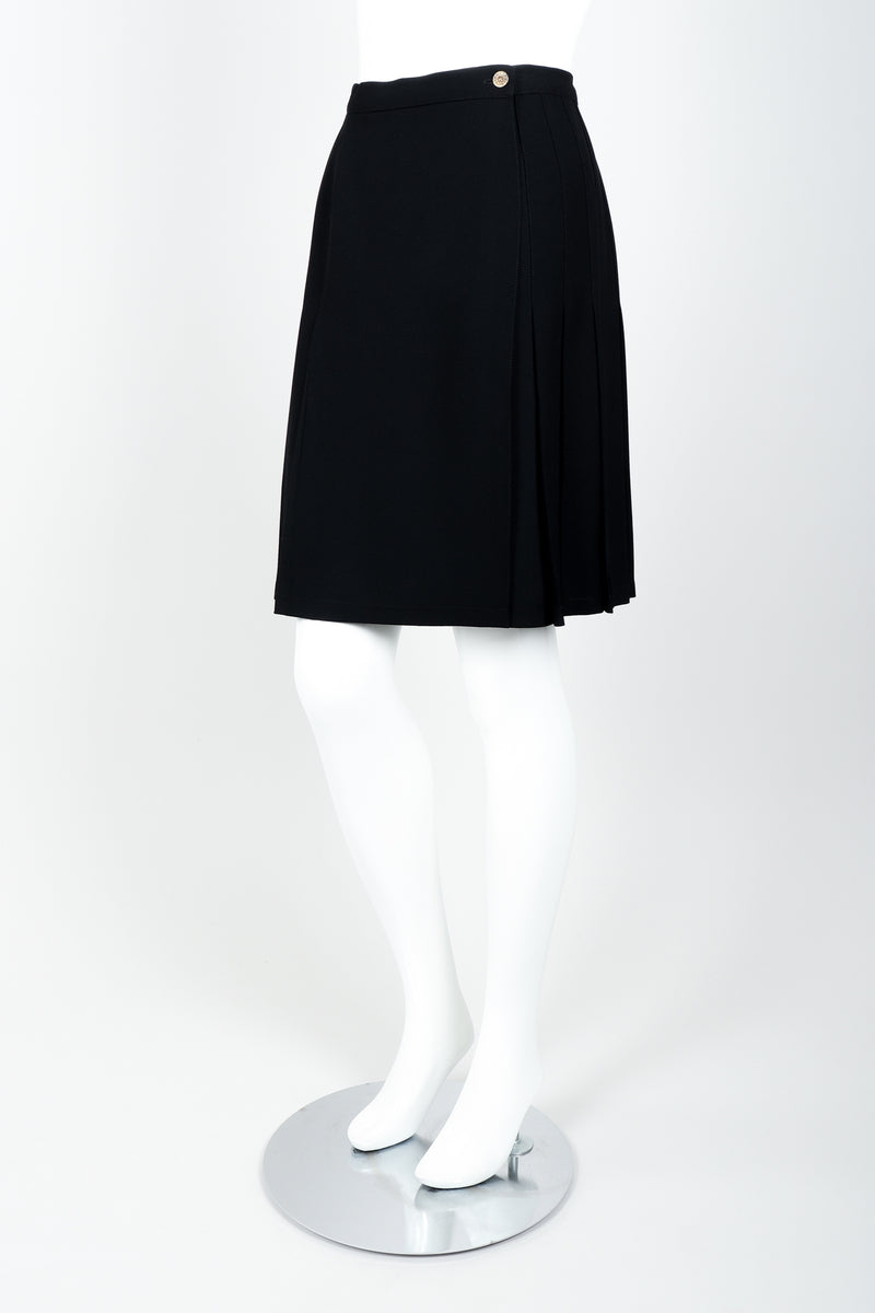 Vintage Sonia Rykiel Crepe Pleated Wrap Skirt on mannequin side at Recess