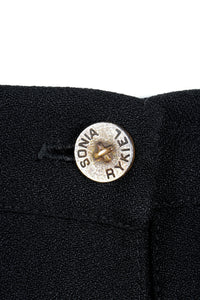 Vintage Sonia Rykiel Crepe Pleated Wrap Skirt button detail
