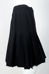 Vintage Sonia Rykiel Crepe Pleated Wrap Skirt on mannequin crop at Recess