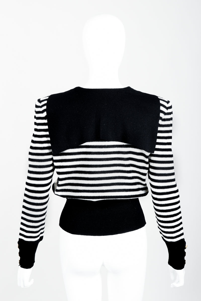 Vintage Sonia Rykiel White Stripe Knit Sailor Sweater on Mannequin back at Recess