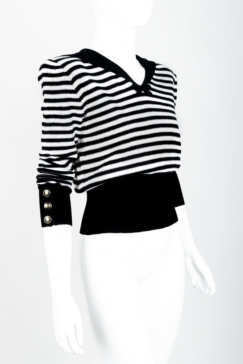 Vintage Sonia Rykiel White Stripe Knit Sailor Sweater on Mannequin side at Recess