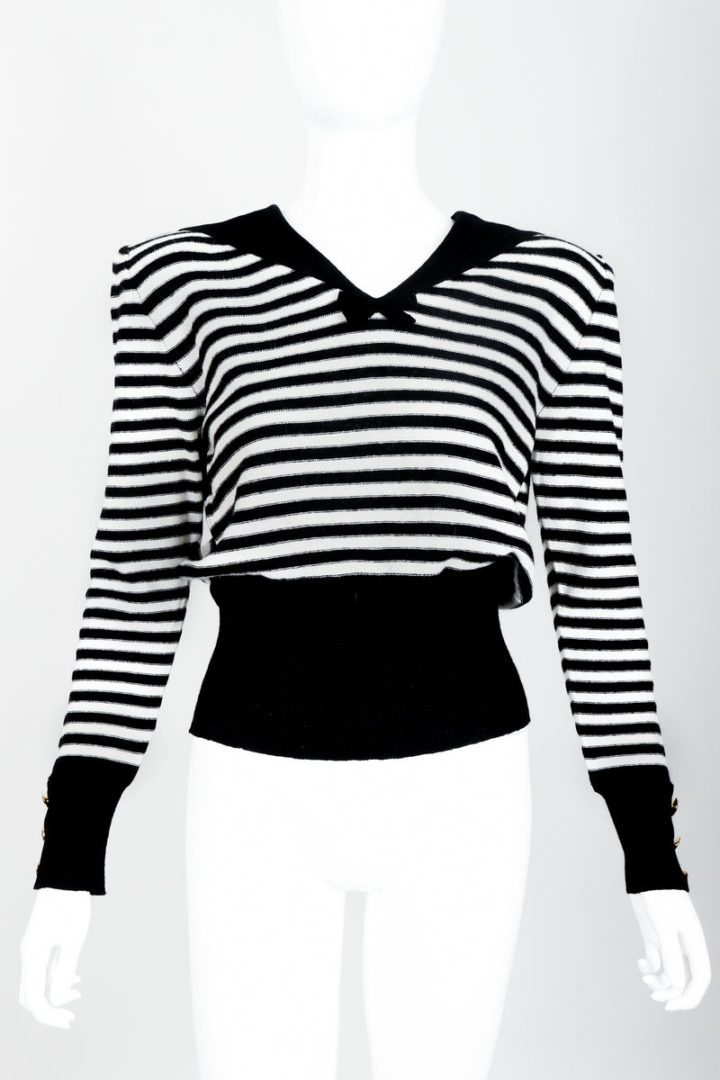 Vintage Sonia Rykiel White Stripe Knit Sailor Sweater on Mannequin front at Recess