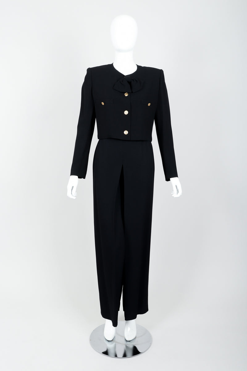 Vintage Sonia Rykiel Chanel Style Boxy Jacket & Pant Suit on Mannequin front at Recess
