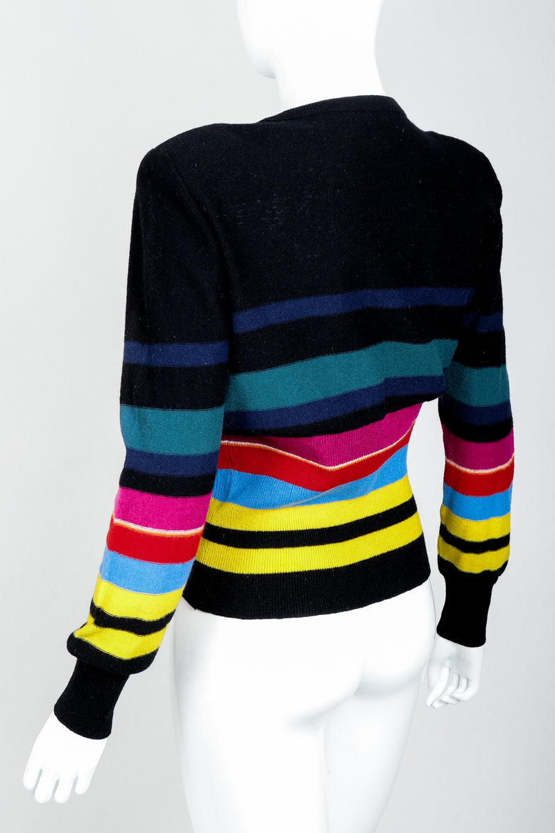 Vintage Sonia Rykiel Rainbow Striped Knit Bow Sweater on Mannequin back angle at Recess