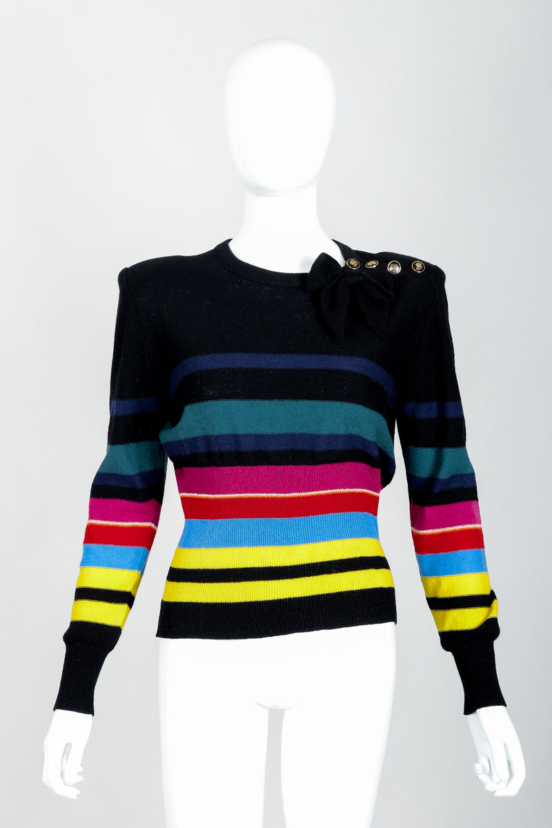 Vintage Sonia Rykiel Rainbow Striped Knit Bow Sweater on Mannequin Front at Recess