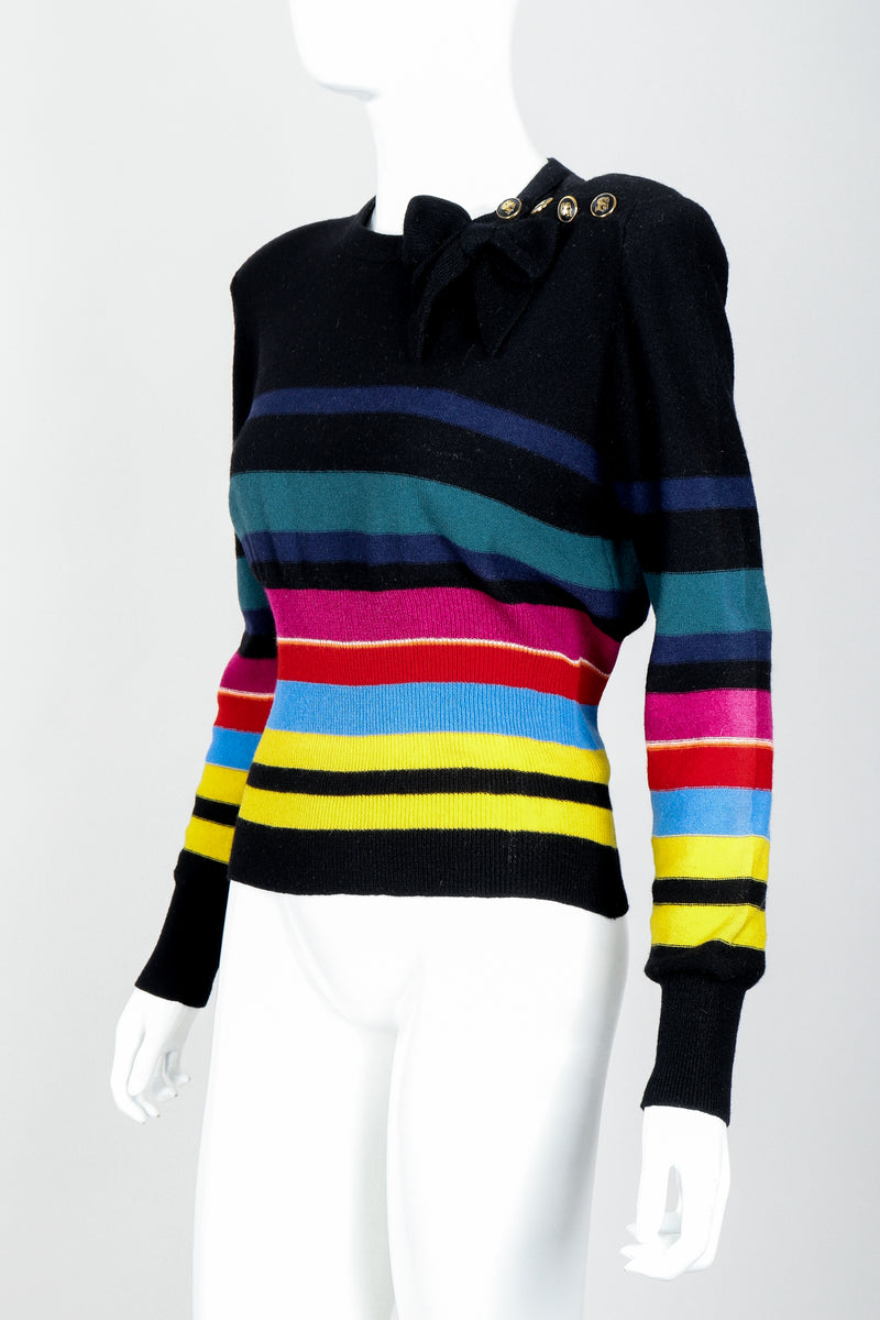 Vintage Sonia Rykiel Rainbow Striped Knit Bow Sweater on Mannequin angle at Recess