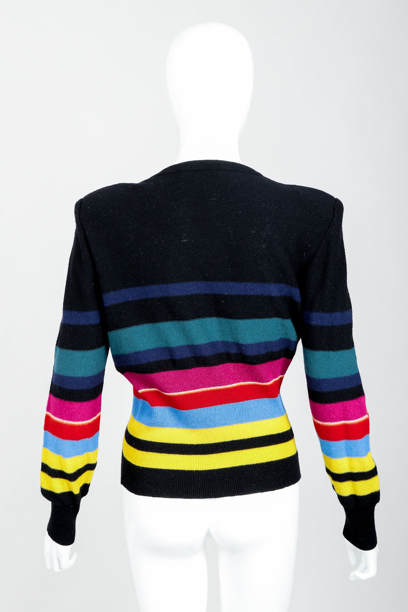 Vintage Sonia Rykiel Rainbow Striped Knit Bow Sweater on Mannequin back at Recess