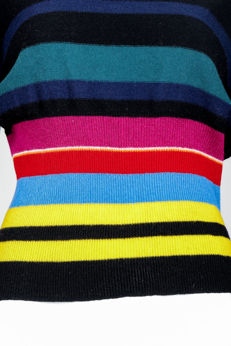 Vintage Sonia Rykiel Rainbow Striped Knit Bow Sweater on Mannequin Waist Detail at Recess