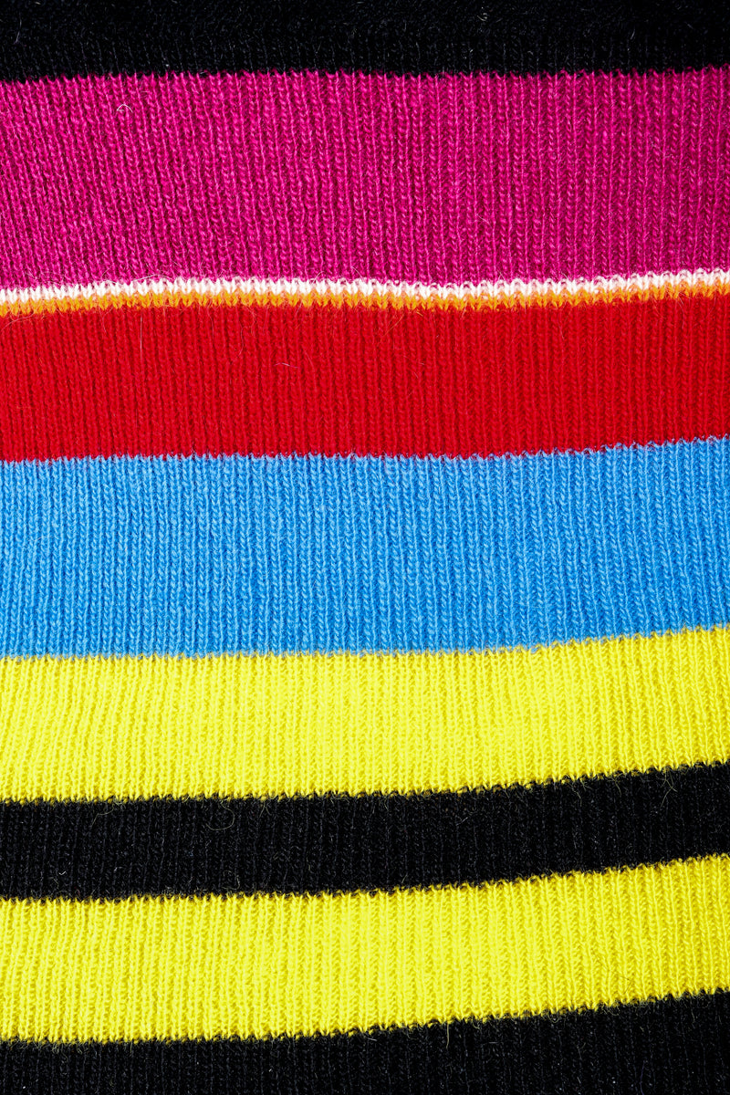 Vintage Sonia Rykiel Rainbow Striped Knit Bow Sweater on Mannequin fabric detail at Recess