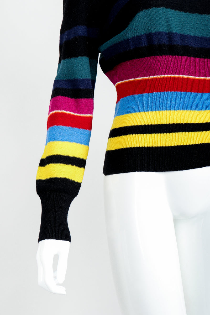 Vintage Sonia Rykiel Rainbow Striped Knit Bow Sweater on Mannequin Sleeve Waist at Recess