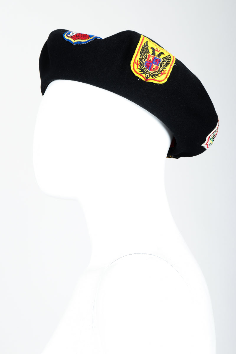 Vintage Sonia Rykiel Wool European Crest Beret on mannequin at Recess