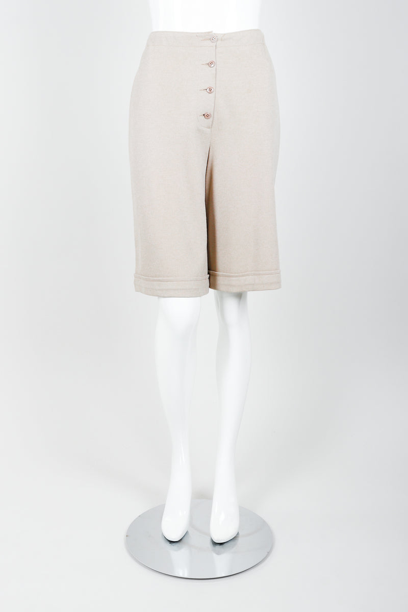 Vintage Sonia Rykiel Beige Knit Short Set on mannequin front at Recess