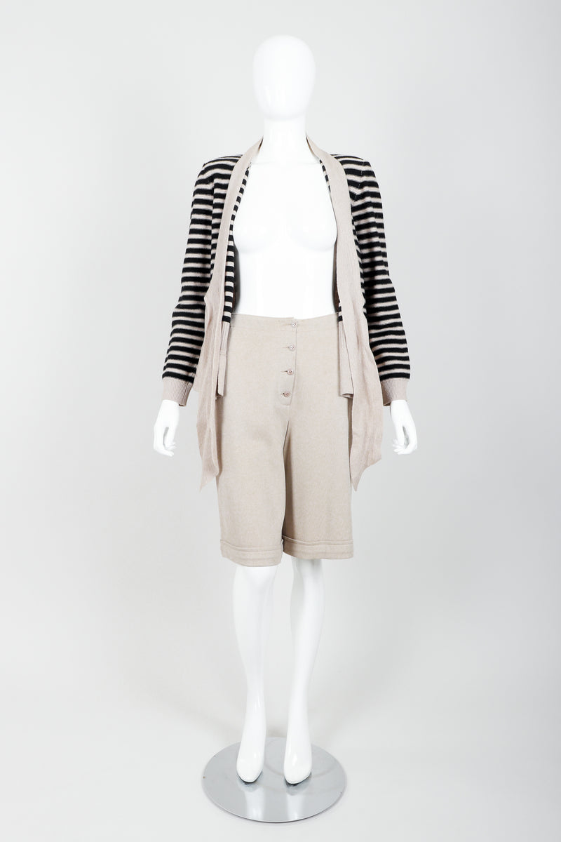 Vintage Sonia Rykiel Beige Knit Sweater & Short Set on mannequin open at Recess