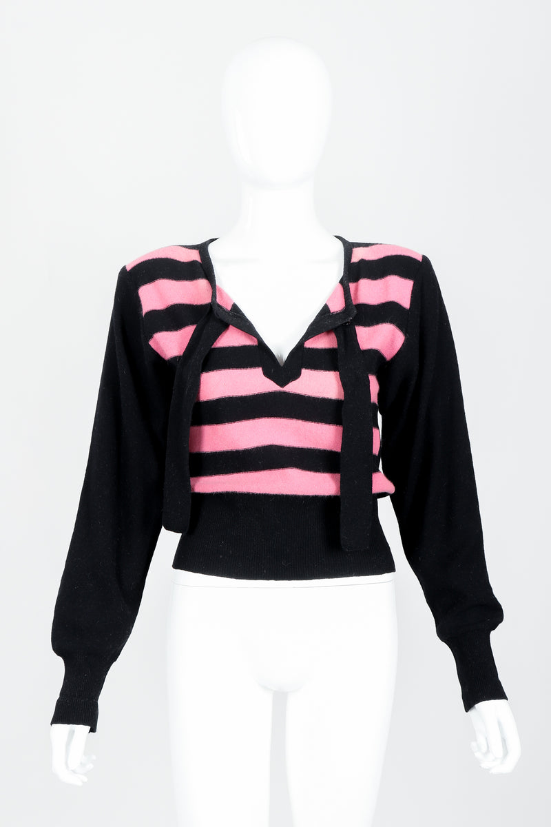 Vintage Sonia Rykiel Pink Stripe Keyhole Tie Neck Sweater on Mannequin Untied at Recess