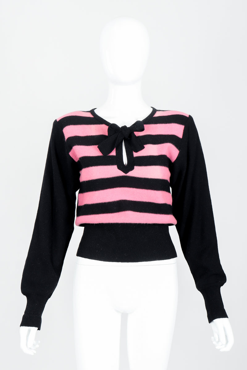 Vintage Sonia Rykiel Pink Stripe Keyhole Tie Neck Sweater on Mannequin Front at Recess