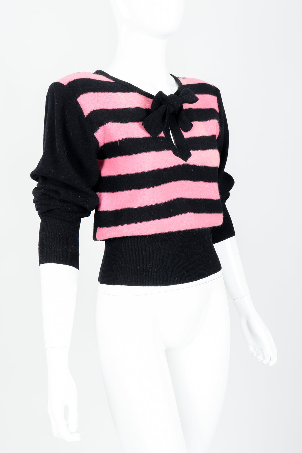 Vintage Sonia Rykiel Pink Stripe Keyhole Tie Neck Sweater on Mannequin Angled at Recess