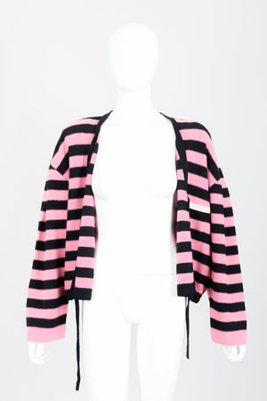 Vintage Sonia Rykiel Pink Stripe Knit Boxy Cardigan on Mannequin Open at Recess Los Angeles