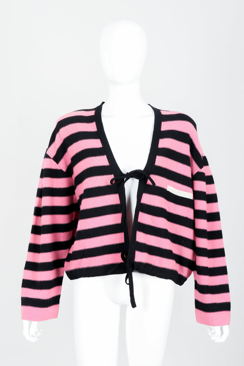 Vintage Sonia Rykiel Pink Stripe Knit Boxy Cardigan on Mannequin Front at Recess Los Angeles