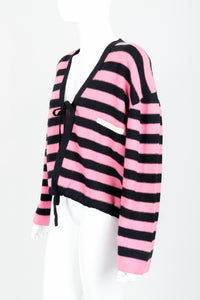 Vintage Sonia Rykiel Pink Stripe Knit Boxy Cardigan on Mannequin Angled at Recess Los Angeles