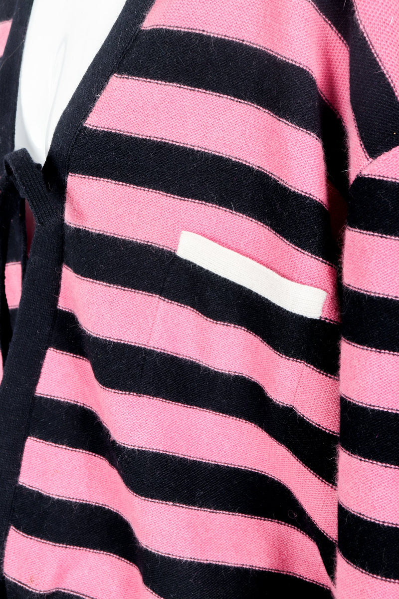 Vintage Sonia Rykiel Pink Stripe Knit Boxy Cardigan on Mannequin Pocket Detail  at Recess