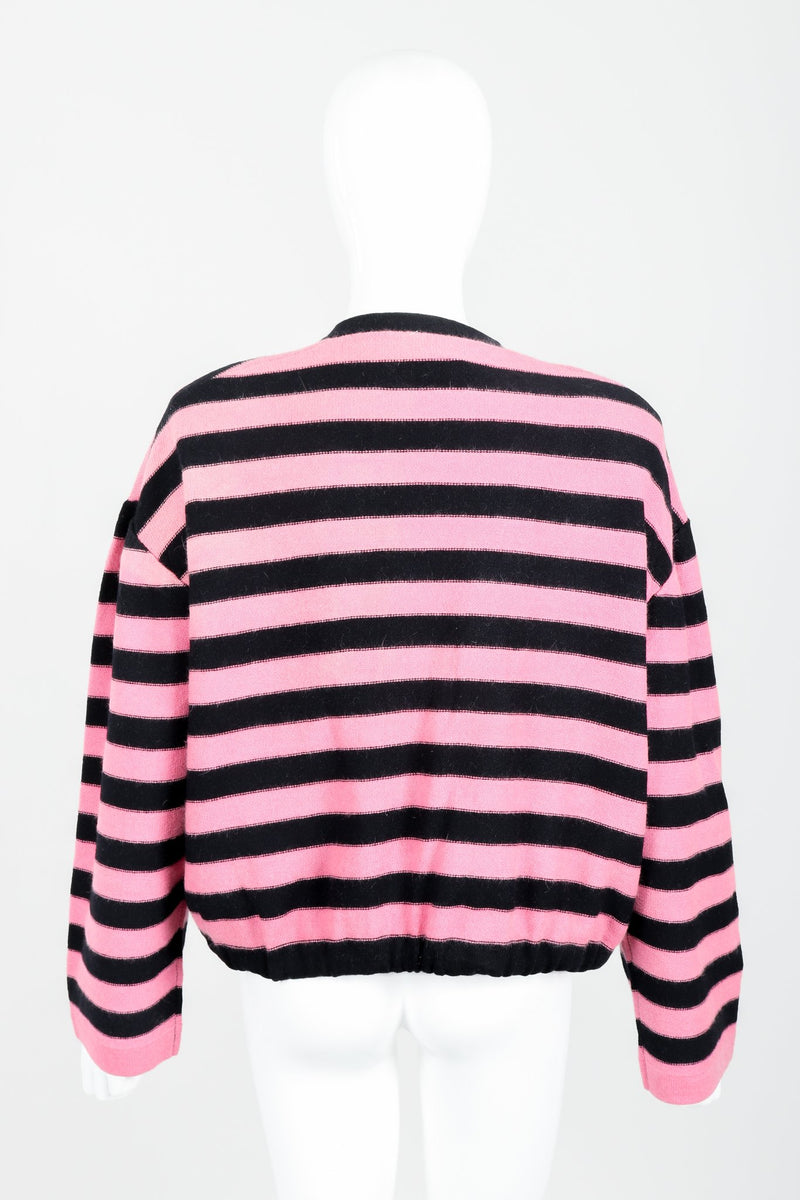 Vintage Sonia Rykiel Pink Stripe Knit Boxy Cardigan on Mannequin Back at Recess Los Angeles