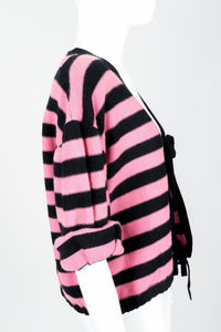 Vintage Sonia Rykiel Pink Stripe Knit Boxy Cardigan on Mannequin Side at Recess Los Angeles