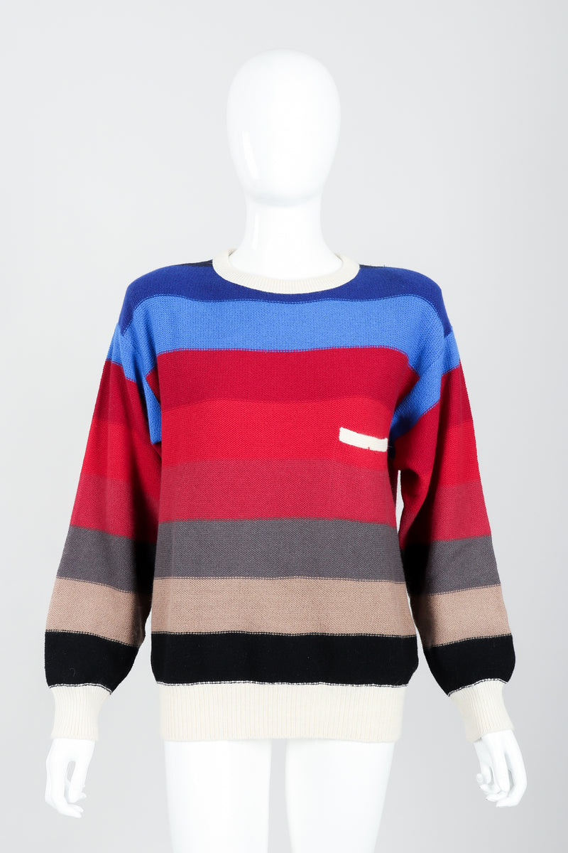 Vintage Sonia Rykiel Ombré Striped Knit Sweater on Mannequin front at Recess