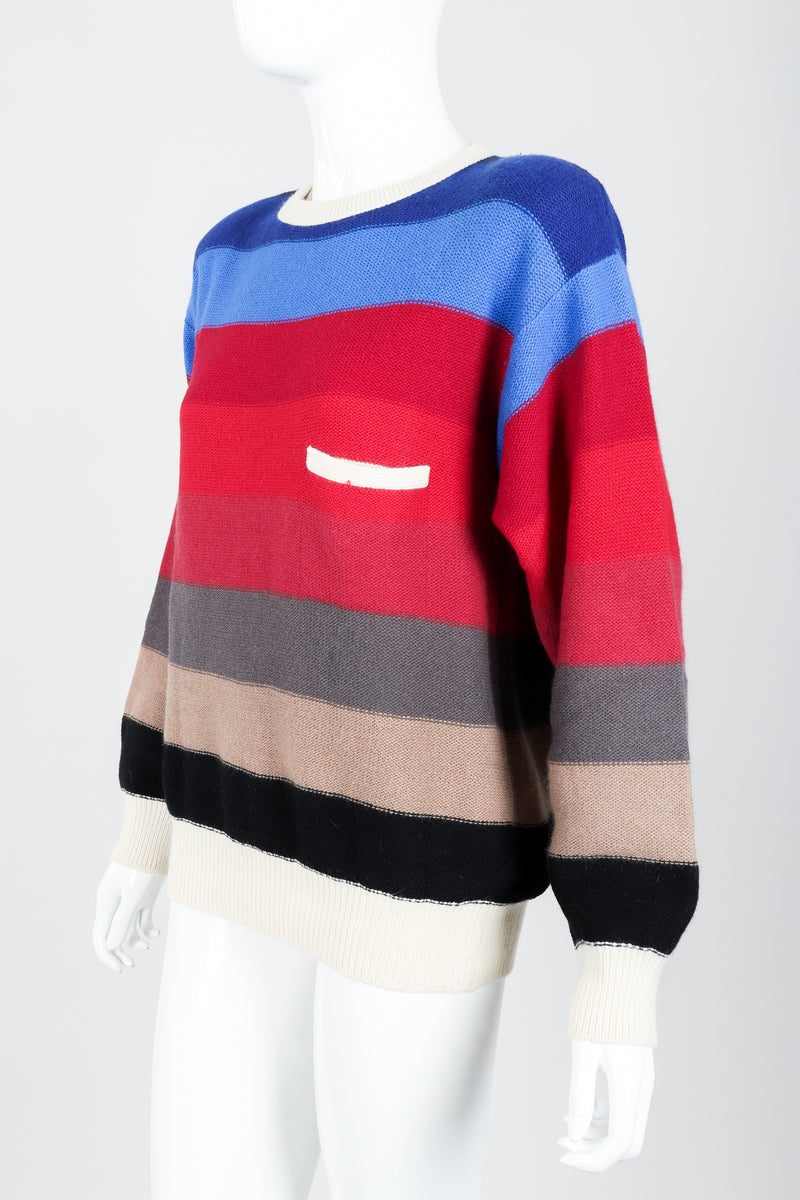 Vintage Sonia Rykiel Ombré Striped Knit Sweater on Mannequin angled at Recess