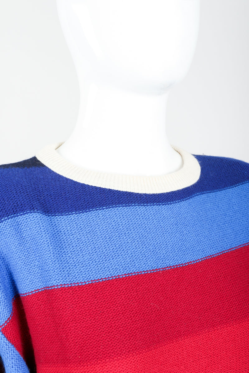 Vintage Sonia Rykiel Ombré Striped Knit Sweater on Mannequin neckline at Recess
