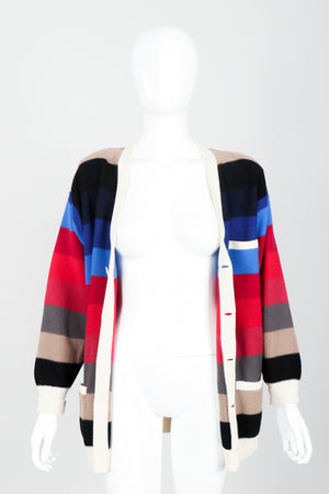 Vintage Sonia Rykiel Ombré Striped Knit Boyfriend Cardigan on Mannequin open at Recess