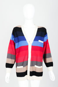Vintage Sonia Rykiel Ombré Striped Knit Boyfriend Cardigan on Mannequin Front at Recess