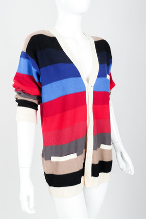 Vintage Sonia Rykiel Ombré Striped Knit Boyfriend Cardigan on Mannequin angled at Recess