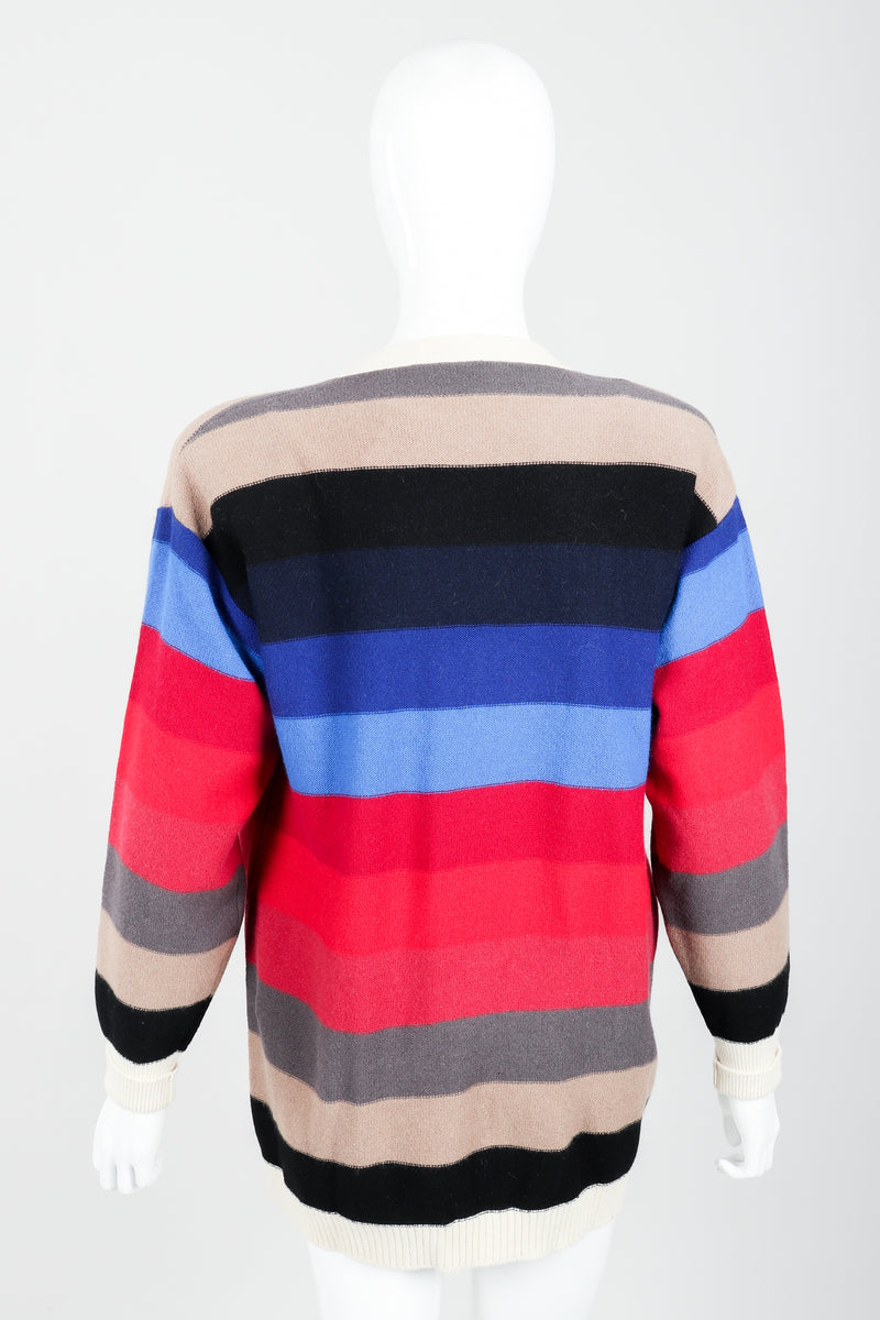 Vintage Sonia Rykiel Ombré Striped Knit Boyfriend Cardigan on Mannequin back at Recess