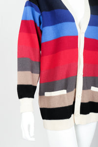 Vintage Sonia Rykiel Ombré Striped Knit Boyfriend Cardigan on Mannequin button front at Recess