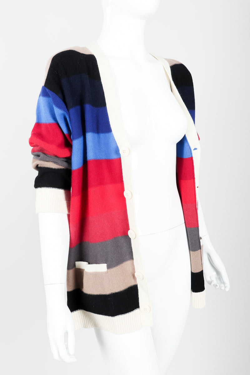 Vintage Sonia Rykiel Ombré Striped Knit Boyfriend Cardigan on Mannequin open angle at Recess